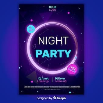 Plantilla de póster abstracto de fiesta de noche