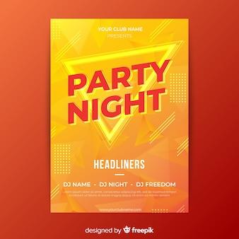 Plantilla de poster abstracto de fiesta nocturna