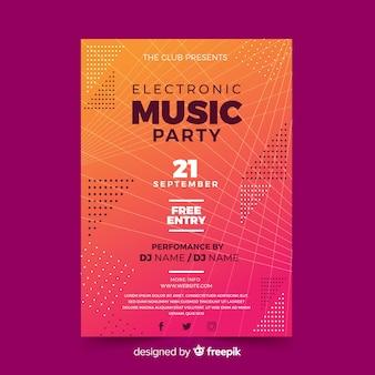 Plantilla de póster abstracto de música electrónica abstracta