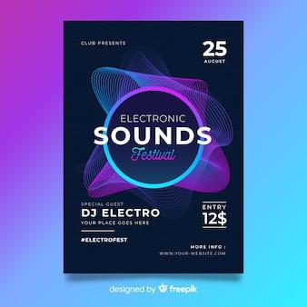 Plantilla de póster abstracto de música electrónica