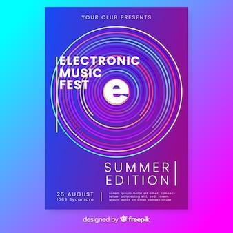 Plantilla de poster abstracto de música electrónica