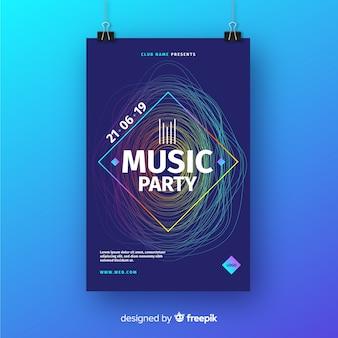 Plantilla de póster abstracto de música