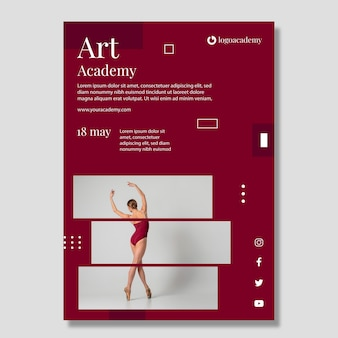 Plantilla de póster de la academia de arte