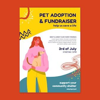Plantilla de póster de adopción y recaudación de fondos de mascotas