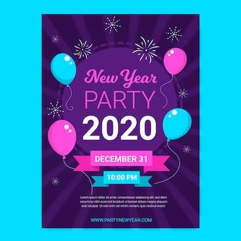 Plantilla de póster de año nuevo 2020