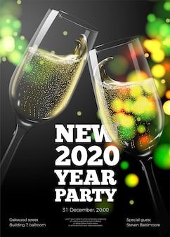 Plantilla de póster de año nuevo con copas de champán transparentes sobre fondo brillante