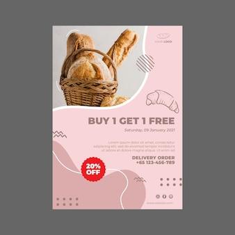 Plantilla de póster de anuncio de panadería