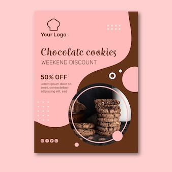 Plantilla de póster de anuncios de cookies