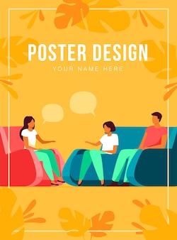 Plantilla de póster de apoyo y terapia grupal