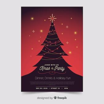 Plantilla de póster de árbol de navidad con luces de cuerda