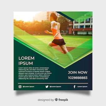 Plantilla de poster de atletismo con fotografía