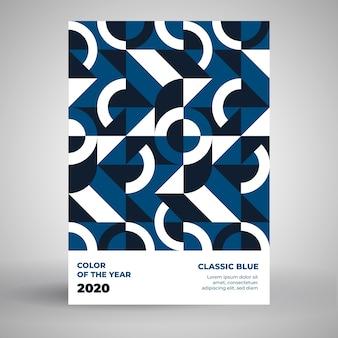 Plantilla de póster azul clásico con diseño de rompecabezas