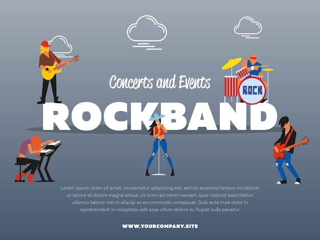 Plantilla de póster de banda de rock de conciertos y eventos