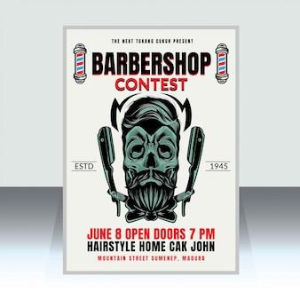 Plantilla de póster de barbería