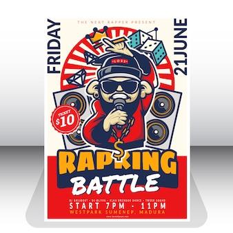 Plantilla de póster de batalla de rap