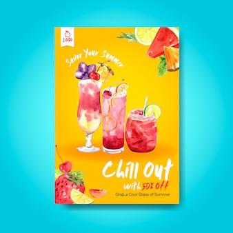 Plantilla de póster de bebida de verano