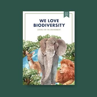 Plantilla de póster con la biodiversidad como especies de vida silvestre natural o protección de la fauna.