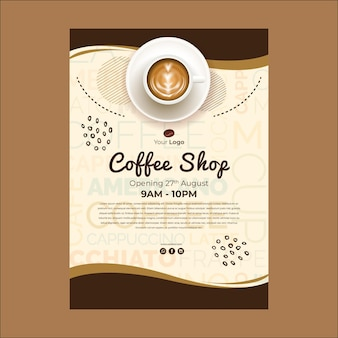 Plantilla de póster para cafetería