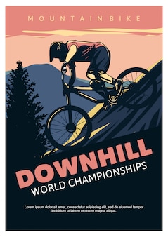 Plantilla de póster de campeonatos del mundo de descenso
