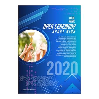 Plantilla de póster de ceremonia abierta para niños deportivos