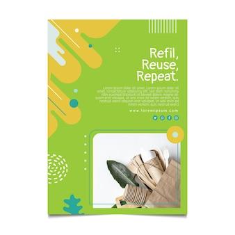 Plantilla de póster de cero residuos