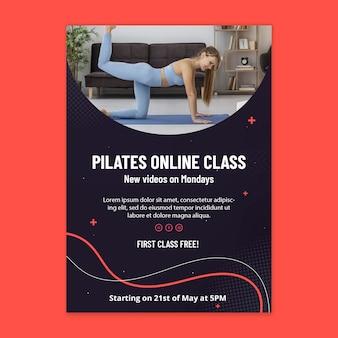 Plantilla de póster de clase en línea de pilates
