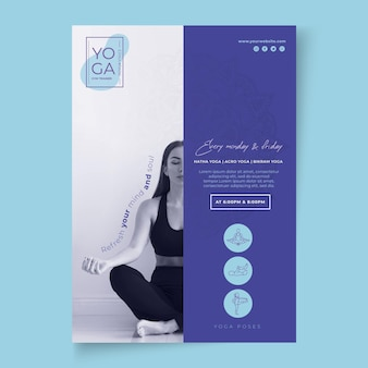 Plantilla de póster de clases de yoga