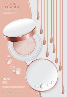 Plantilla de póster - cojín en polvo para maquillaje