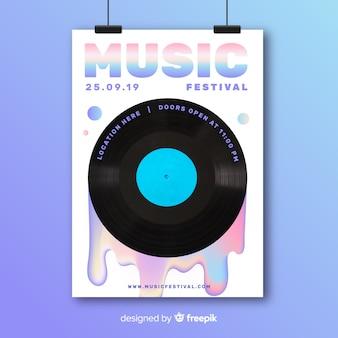 Plantilla de póster colorido abstracto de festival de música con foto