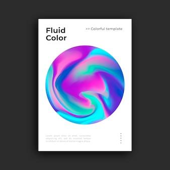 Plantilla de póster colorido con efecto fluido