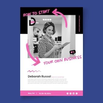 Plantilla de póster comercial de marketing con foto