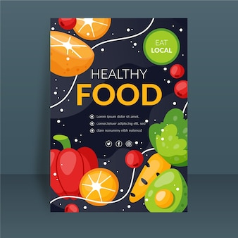 Plantilla de póster de comida saludable