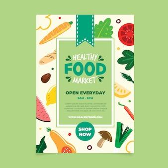 Plantilla de póster de comida vegana saludable