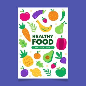 Plantilla de póster de comida vegetariana saludable