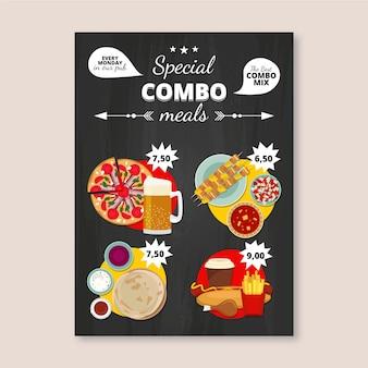 Plantilla de póster de comidas combinadas