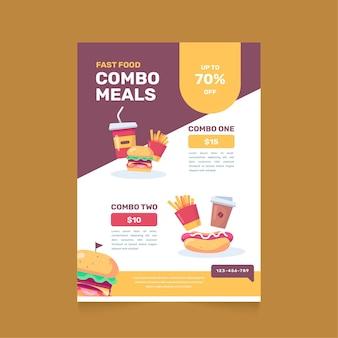 Plantilla de póster para comidas combinadas