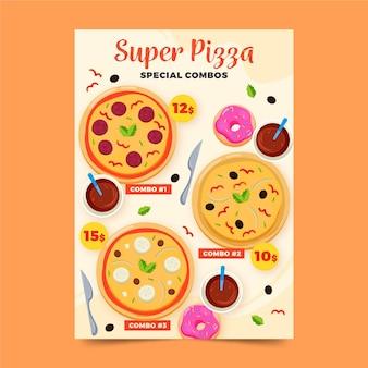 Plantilla de póster de comidas combo de super pizza