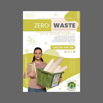 Plantilla de póster de concepto de desperdicio cero