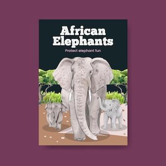 Plantilla de póster con concepto de elefante funning, estilo acuarela