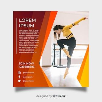 Plantilla de poster de danza con fotografía