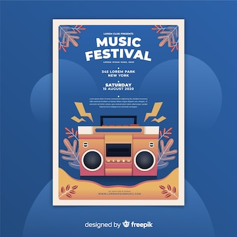 Plantilla de poster degradado de festival de música