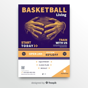 Plantilla de póster de deporte de baloncesto