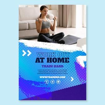 Plantilla de póster de deporte en casa