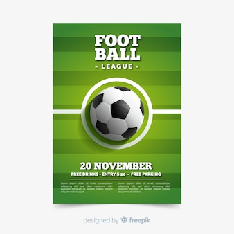 Plantilla de póster de deporte con pelota de fútbol