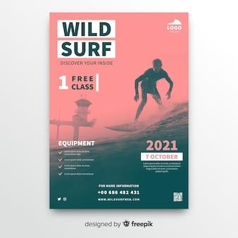 Plantilla de póster de deporte de surf salvaje