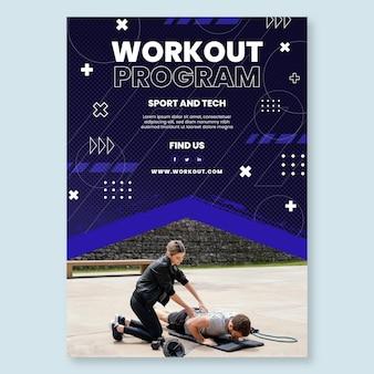 Plantilla de póster de deporte y tecnología