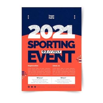 Plantilla de póster deportivo bicolor minimalista