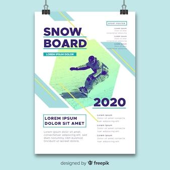 Plantilla de póster deportivo con foto de claroscuro