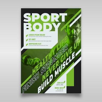 Plantilla de póster deportivo con foto