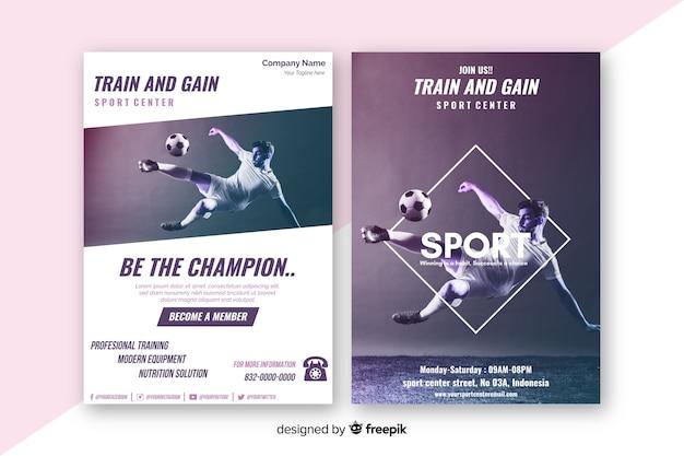 Plantilla de póster deportivo con imagen de claroscuro